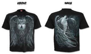 Spiral Direct WOLF SPIRIT Mens Biker/Rock/Native American/Wings/T Shirt/Clothing