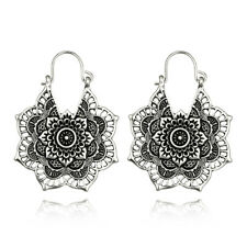 Classic Fashion Jewelry Ethnic Tibetan Silver Flower Craved Hollow Hook Earring