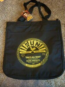 "SUN RECORD COMPANY ELVIS PRESLEY BLACK CLOTH TOTE BAG ""THAT'S ALL RIGHT"" NEW!!"