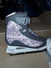 American Athletic Women's Soft Boot Hockey Skates, Grey and Purple, 6