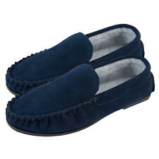Mens Fleece Lined Loafers Rubber Sole Easy Slip On Moccasin Slippers Lambland