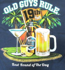 """Old Guys Rule """"Best Round of the Day"""" Golf Large Tee Shirt Navy"""
