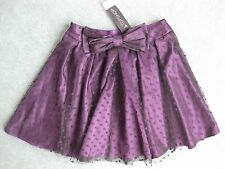 BNWT Lovely Top Shop lace layered purple satin skirt  size 8 bow detail boho