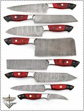 GladiatorsGuild Custom Damascus Steel 8 pcs Red Chef Kitchen Knife set Cleaver