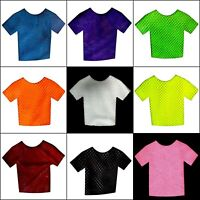 Party Fishnet Top Fish Net T-shirt 80S 70S mesh Short Sleeve Costume Dance neon