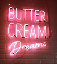"New Butter Cream Dreams Real Glass Acrylic Neon Light Sign 19""x17"""