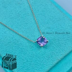 "Tiffany & Co. 925 Silver 1.5Ct. Purple Amethyst Sparkler 16""  Necklace (pouch)"