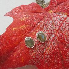 Labradorit, oval, blau grün, edel, Ohrstecker, Ohrringe, 925 Sterling Silber neu