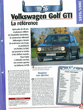 Volkswagen Golf GTI 1976 GERMANY DEUTSCHLAND ALLEMAGNE  Car Auto FICHE FRANCE