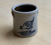 CNC POTTERY -  MINIATURE Stoneware Crock Painted With Pecking Hen