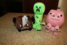 3 Minecraft plush Brown Cow Pink Pig Green Creeper Mojang