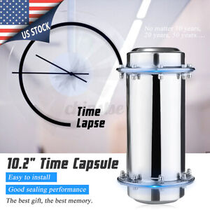 Waterproof Stainless Steel Time Capsule Lock Container Future Storage W/ Gloves