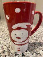 Red and White Snowman Polka Dots Tall Coffee Mug Tea Cup