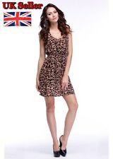 Sexy Casual Sleeveless Dress Round Collar Leopard Hollow Back Dress