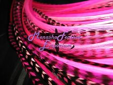 Feather hair extensions 10 Breast Cancer Awareness Pink grizzly solids beads