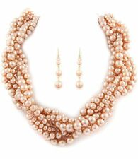 CHAMPAGNE BRAIDED BEAD  ELEGANT    NECKLACE AND EARRING SET 8