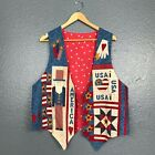 America USA Applique Red White Blue Quilted Cotton Patriotic Uncle Sam Vest OS