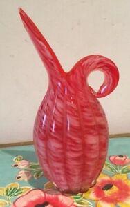 Stunning Vintage Red & White Art Glass Vase With Original Sticker