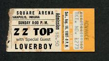 1981 Zz Top Loverboy Concert Ticket Stub Indianapolis El Loco Motion Tour