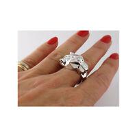 CERTIFIED PANTHER EMERALD EYES 14K SOLID WHITE GOLD ANIMAL WEDDING PANTHERE RING