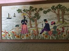 American Folk Art Woven Picture of Alabama River Scene With Montgomery Stamp