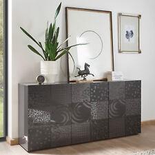 Sideboard Miros 5 Kommode in anthrazit Hochglanz lackiert Front mit Siebdruck