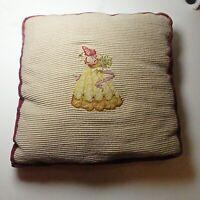 """Vintage Needlepoint Petit Point Pillow Velvet Back Victorian Lady 12"""" x 12"""" x 3"""""""