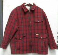 S3297 Woolrich Original Outdoorwear Men's Large Red Plaid Jacket Made in USA