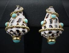 Important 18k Yellow Gold Designer Turquoise Sea Shell Clip Earrings EG646