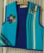 "OPUS 1 by Diana Vintage Waistcoat Mexican Folk Vest 36"" Bust Floral Applique"