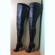 Stiletto Rivets Platform Over Knee High Thigh Leather Boots Clubwear Big Size