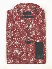 Pal Zileri Lab Slim Fit Red Paisley S/S Hawaiian Mens Cotton Shirt XL