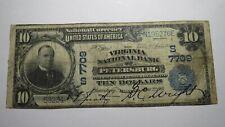$10 1902 Petersburg Virginia VA National Currency Bank Note Bill! Ch #7709 Fine!