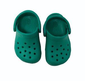 Croc's Children Toddler Shoes Slip On Sz c4 Boy Girl Green Rubber Pre Owned