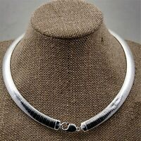 "10mm 925 Sterling Silver Flat Omega Collar Choker Chain Necklace in 16"" 18""  20"""
