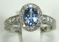 Sapphire Ring 18K White Gold Antique style Halo VS Heirloom GIA Appraised $5,967