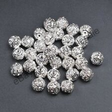 10Pcs Quality Czech Crystal SILVER PLATED Round Spacer BEADS 6MM 8MM 10MM 12MM