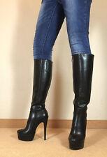 Gr.42 TOP! Exklusiv Sexy Damen Schuhe Knee Knie Stiletto Stiefel Männer Boots E1