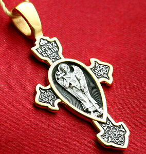 ORTHODOX RUSSIAN GREEK CROSS PENDANT - GUARDIAN ANGEL.CHRISTIAN.SILVER+999GOLD
