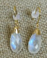 Natural Rainbow blue Moonstone drop dangle solid 9ct gold French hook earrings