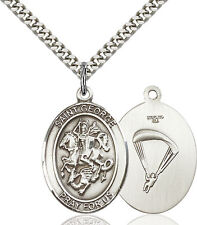 925 Sterling Silver St George Paratrooper Military Catholic Medal Necklace