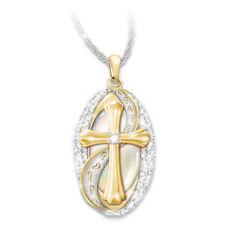 Women 925 Silver Natural White Topaz Cross Pendant Chain Choker Necklace Party