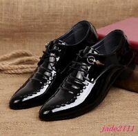 Casual British Mens Pointy Toe Lace Up Dress Oxfords Formal Patent Leather Shoes