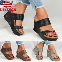 US Women Wedge High Heel Platform Sandals Ladies Casual Flip Flops Slip On Shoes