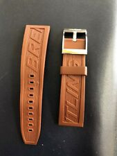 Breitling Brown Rubber Strap Steel Tang Buckle 24-20mm Rare Color