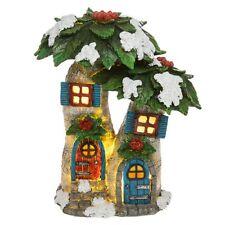 Solar Fairy Glade LED Large Poinsettia House Pixie Cottage Magical Light Up