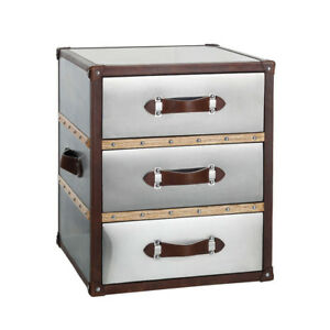 Leather Metal Three Drawer Chest Bedroom Bedside Nightstand Side Table