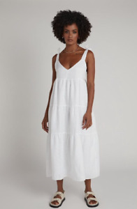 Dissh Ariana White Linen Tier Midi Dress Size 12
