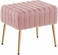 Duhome Modern Faux Fur Ottoman Bench Tufted Footrest Vanity Chair Makeup Chair