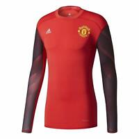 adidas Men's Manchester United Long Sleeved Techfit Compression T Shirt Red